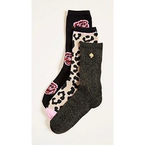 Set of 3 Leopard Floral Kate Spade Socks
